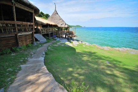 The way to hut with sea at bay in thailand island photo