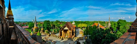 The thai temple in panorama picture style photo