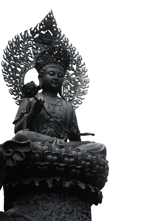 The guanyin statue on the white background photo