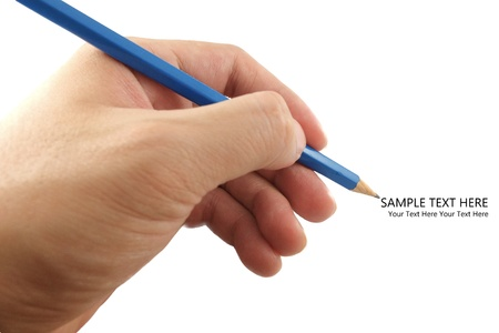 The pencil in hand with sample text on whitebackground photo