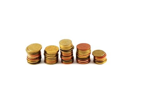 The thai money coin arranged on white background photo