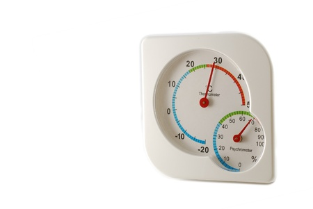 humidity gauge: The hygrometer on white background use for science