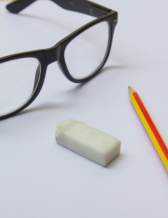 wastrel: glasses pencil rubber paper for work Stock Photo