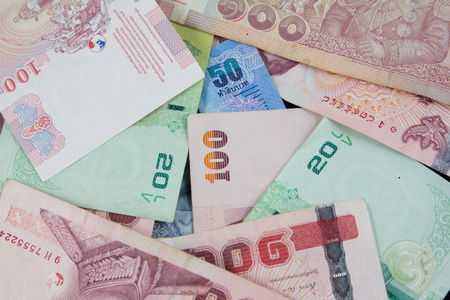 onehundred: Thailand Canadian bank notes background 50,20,100 Bath
