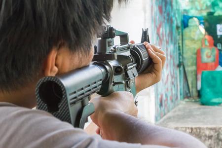 bb: man point target in bb gun