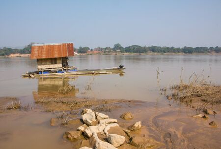 boat house: boat house on mae klong river at LEI, Thailand