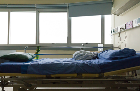 hospital patient: hospital bed after patient get well Stock Photo