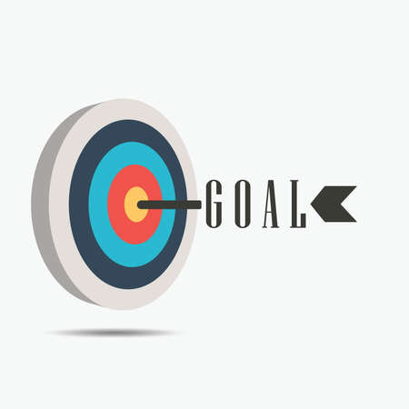 Archery Target with goal arrow, icon success business strategy concept, Vector illustration isolated on white background
