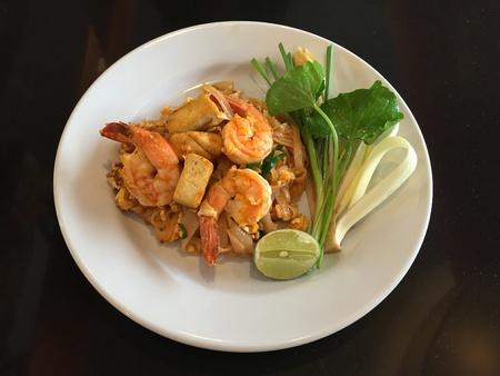 Pad Thai, stir-fried noodles, Thai national main dish Stock Photo