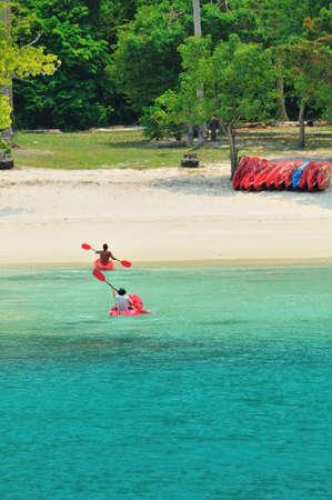 Tourists canoeing near Koh Samui beach in Surat Thani provice, Thailand