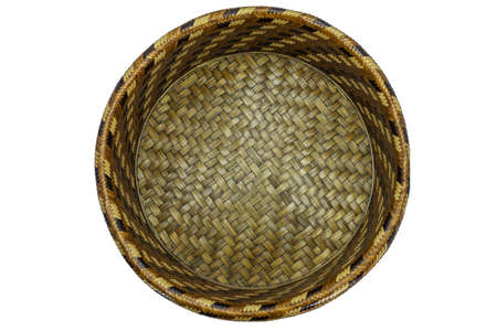 Wicker Basket isolated on white background topviwe