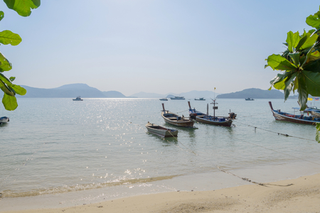 kata: Fishing boats dock at Kata Beach, Phuket, Thailand