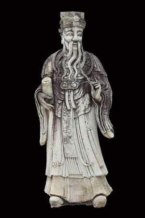 Chinese stone savant statue on black background