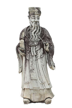 Chinese stone savant statue on white background