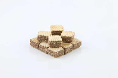 Isolated chocolate cracker over white background Stock Photo