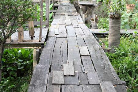 gangway: The old wood gangway between two garden