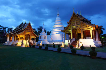 Wat Phra Singh temple at twilight in Chiang Mai, Thailand
