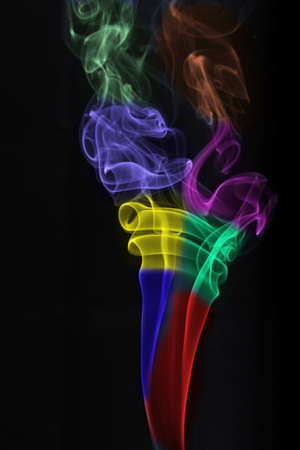 colored smoke isolated on black