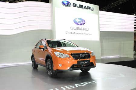 NONTHABURI - NOVEMBER 28: Subaru XV car on display at The 30th Thailand International Motor Expo on November 28, 2013 in Nonthaburi, Thailand.