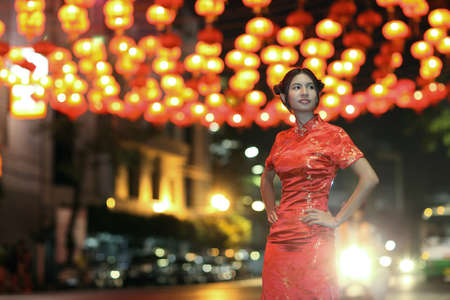 Portrait Asian Chinese woman in Traditional Chinese Cheongsam