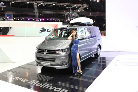 BANGKOK - MARCH 25 : Volkswagen The new Multivan  car with Unidentified model on display at The 35th Bangkok International Motor Show 2014 on March 25, 2014 in Bangkok, Thailand. Editorial