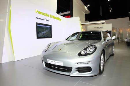 NONTHABURI - March 25: Porsche Panamera S e-hybrid car on display at The 35th Bangkok International Motor Show on March 25, 2014 in Nonthaburi, Thailand.