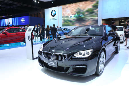 NONTHABURI - March 25: BMW 640i Coupe M Sport car on display at The 35th Bangkok International Motor Show on March 25, 2014 in Nonthaburi, Thailand.