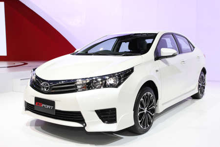 NONTHABURI - March 25: Toyota All New Corolla Altis Esport car on display at The 35th Bangkok International Motor Show on March 25, 2014 in Nonthaburi, Thailand.