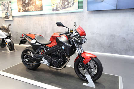 BANGKOK - MARCH 25 : BMW F800R Motorcycle on display at The 35th Bangkok International Motor Show 2014 on March 25, 2014 in Bangkok, Thailand.