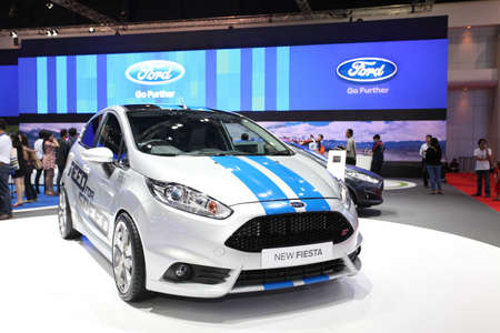 NONTHABURI - March 25: Ford New Fiesta car on display at The 35th Bangkok International Motor Show on March 25, 2014 in Nonthaburi, Thailand.