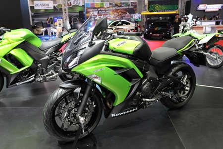 BANGKOK - MARCH 25 : Kawasaki Ninja 650 Motorcycle on display at The 35th Bangkok International Motor Show 2014 on March 25, 2014 in Bangkok, Thailand.