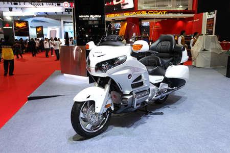 BANGKOK - MARCH 25 : Honda BigBike Goldwing Motorcycle on display at The 35th Bangkok International Motor Show 2014 on March 25, 2014 in Bangkok, Thailand.