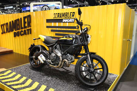 scrambler: BANGKOK - November 28: Ducati Scrambler motorcycle on display at The Motor Expo 2014 on November 28, 2014 in Bangkok, Thailand.