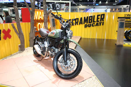 scrambler: BANGKOK - November 28: Ducati Scrambler X  motorcycle on display at The Motor Expo 2014 on November 28, 2014 in Bangkok, Thailand.