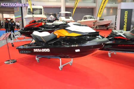 jetski: BANGKOK - MARCH 24: Seadoo Jetski on display at The 36 th Bangkok International Motor Show on March 24, 2015 in Bangkok, Thailand.