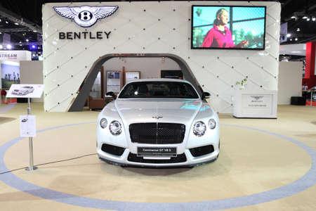 v8: BANGKOK - MARCH 24: Bentley Continental GT V8 S car on display at The 36 th Bangkok International Motor Show on March 24, 2015 in Bangkok, Thailand. Editorial
