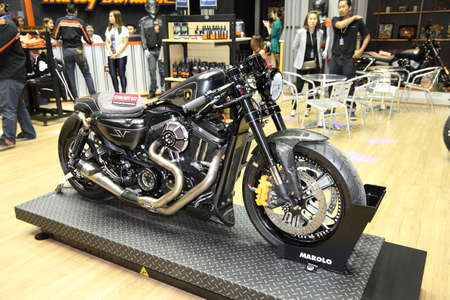 harley davidson motorcycle: BANGKOK - MARCH 24: Harley Davidson motorcycle on display at The 36 th Bangkok International Motor Show on March 24, 2015 in Bangkok, Thailand.