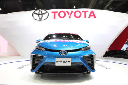 BANGKOK - MARCH 24: Toyota Mirai car on display at The 36 th Bangkok International Motor Show on March 24, 2015 in Bangkok, Thailand.