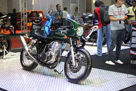 BANGKOK - June 24 :Thruxton sr motocycle  car on display at Bangkok International Auto Salon 2015 on June 24, 2015 in Bangkok, Thailand.