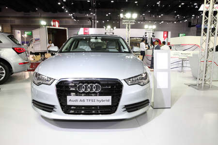 a6: BANGKOK - August 4: Audi A6 TFSI Hybrid car on display at Big Motor sale on August 4, 2015 in Bangkok, Thailand. Editorial