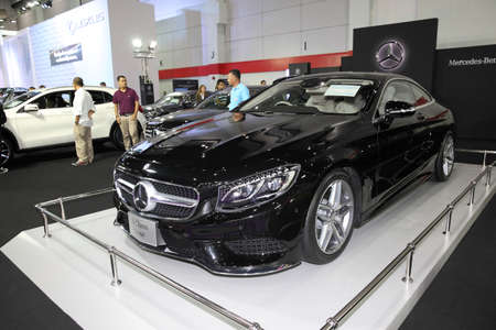 cope: BANGKOK - August 4: Mercedes Benz S-Class Co[pe car on display at Big Motor sale on August 4, 2015 in Bangkok, Thailand.