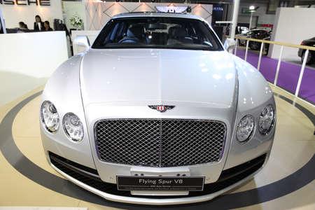 v8: BANGKOK - August 4: Bentley Flying Spur V8 car on display at Big Motor sale on August 4, 2015 in Bangkok, Thailand.