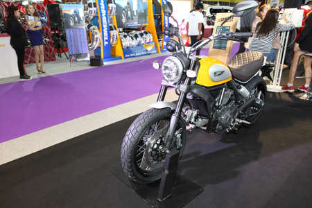 scrambler: BANGKOK - August 4: Ducati Scrambler motorcycle on display at Big Motor sale on August 4, 2015 in Bangkok, Thailand.