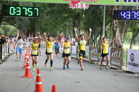 Bangkok - October 23: unidentified runners participates in Ekiden 2015 Marathon relay run fun forward on October 23, 2015 in Bangkok, Thailand