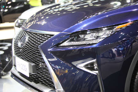 rx: BANGKOK - December 11: Zoom front of Lexus RX 200t car on display at The Motor Expo 2015 on December 11, 2015 in Bangkok, Thailand. Editorial