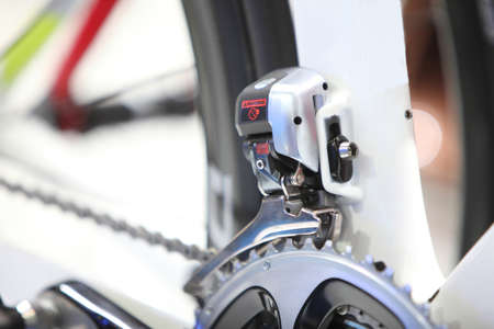 machine teeth: zoom picture of  electric shift front gear of road bike