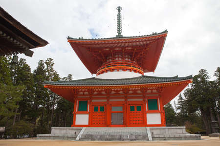 japanese temple: Red pagoda Japanese Temple in Koyasan,Wagayama,Japan Editorial