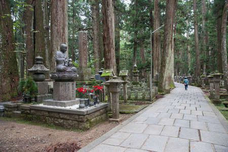 grieve: WAKAYAMA, JAPAN - OCTOBER 28: Okunoin Cemetery in Wakayama, Japan on October 28, 2016. Okunoin is one of the most sacred places in Japan and a popular pilgrimage spot. Editorial