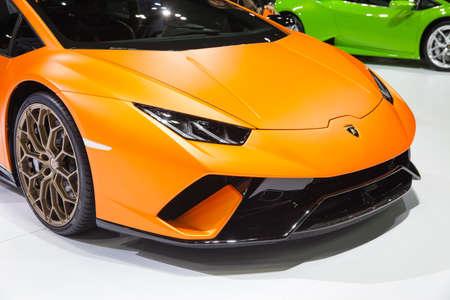exposición: Bangkok, Thailand. 28th Mar, 2017. Closed up front of Lamborghini car on display at The 38th Bangkok International Thailand Motor Show 2017 on March 28, 2017 Nonthaburi, Thailand