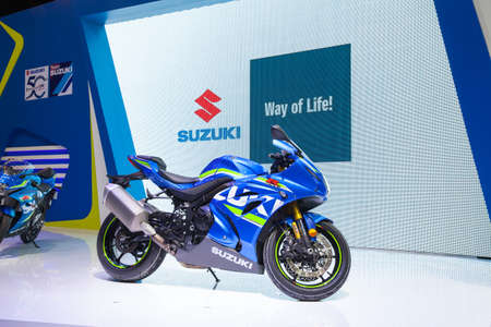 Bangkok, Thailand. 28th Mar, 2017. Suzuki motorcycle on display at The 38th Bangkok International Thailand Motor Show 2017 on March 28, 2017 Nonthaburi, Thailand